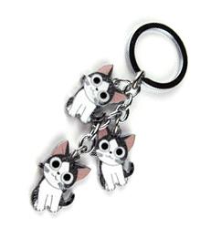 พวงกุญแจเหล็กแมวจี้ ท่ายิ้มเลข3