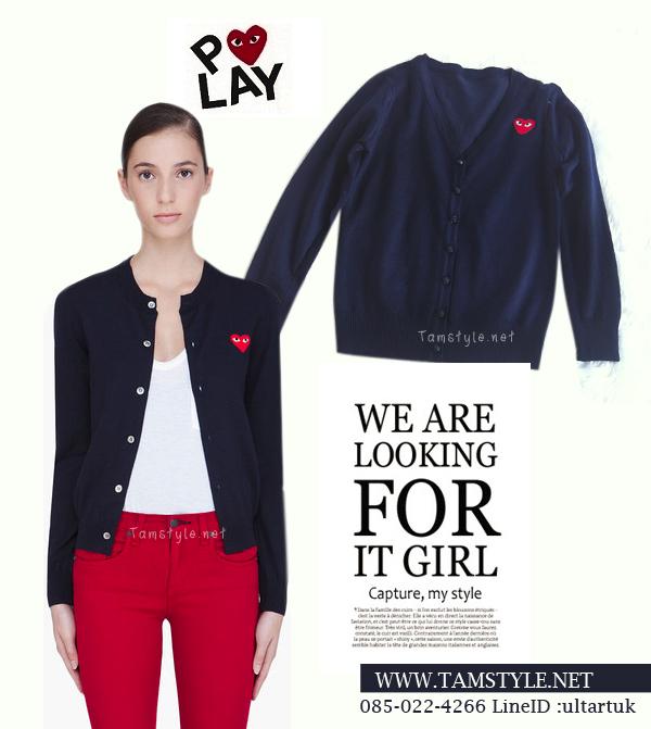 Coat-033 เสื้อคลุมไหมพรม play สีดำหัวใจสีกรม สวยอินเทรนด์ต้อนรับอากาศเย็น สวยสดใส น่ารักมากๆค่ะ สินค้าพร้อมส่งค่ะ