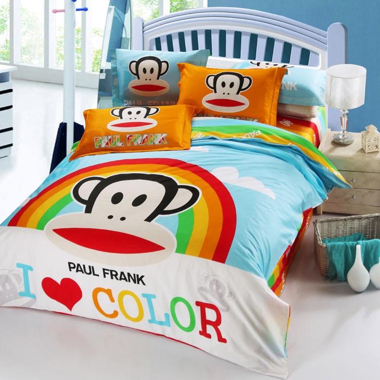 [Preorder] ผ้าปูที่นอน 1 เซ็ทมี 3 ชิ้น (ไซส์ 5 ฟุต, 6 ฟุต หรือ 6.6 ฟุต) ลาย Paul Frank และสายรุ้ง Mouth monkey cotton denim cotton linens clearance free shipping cute cartoon Fitted genuine four sets of bedding
