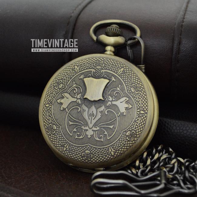 นาฬิกาพกล็อคเก็ตดีไซต์ยุโรปสีทองเหลืองวินเทจระบบถ่านควอทซ์