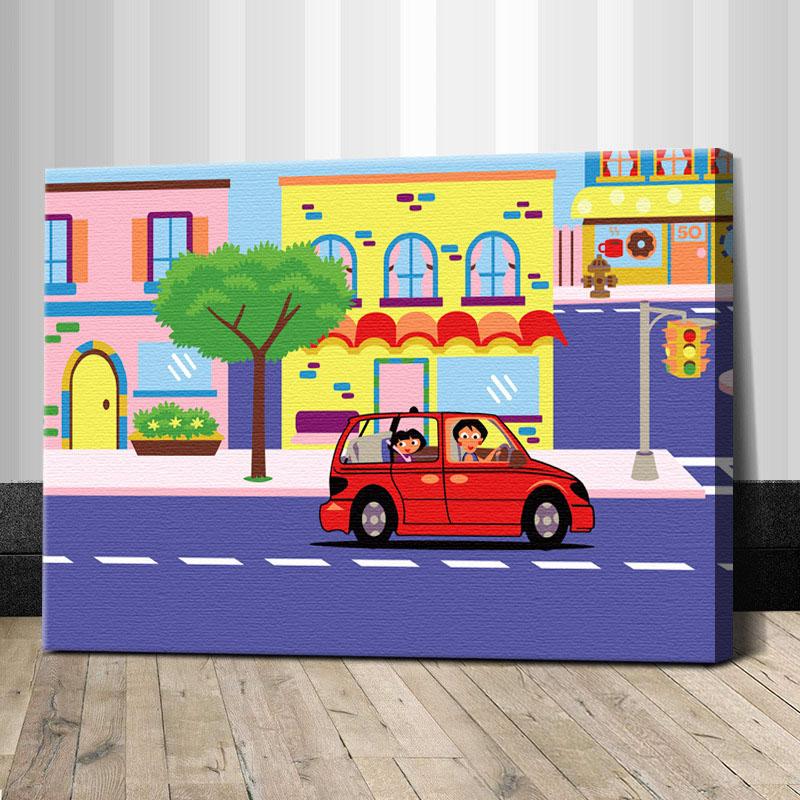 """TC030 ภาพระบายสีตามตัวเลข """"ขับรถในเมืองหลากสี"""""""