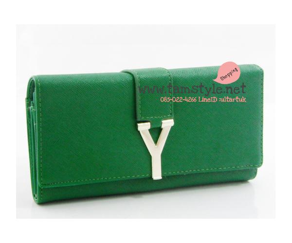 Bag-AB-8013 สีเขียวเข้ม กระเป๋าสตางค์ยาวหนัง PU แต่งอะไหล่สไตล์ yves saint laurent (กระเป๋าสตางค์พร้อมส่ง)