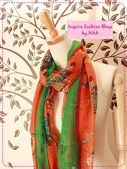 [Preorder] ผ้าพันคอเก๋ๆ สกรีนลายสีส้ม The Korean matter Zhi Korea 2012 autumn new OL Korean hot models oversized scarf shawl