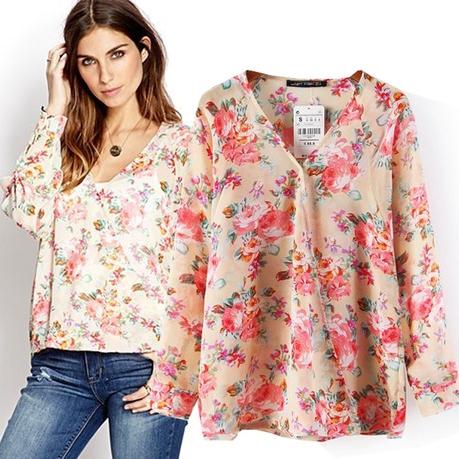 [Preorder] เสื้อแฟชั่นแขนยาวลายดอกไม้ แบรนด์ ZARA (ไซส์ S M L) 2014 summer new European style ZARA MICN ladies flower print chiffon shirt long-sleeved shirt Cross