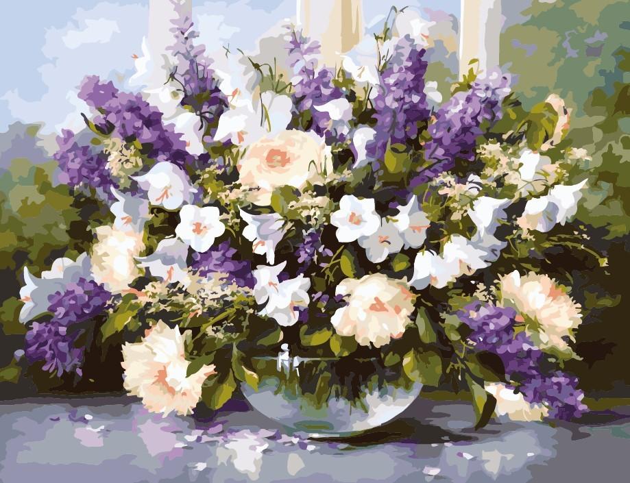 """MG516 ภาพระบายสีตามตัวเลข """"ดอกไม้ในชามแก้ว"""""""