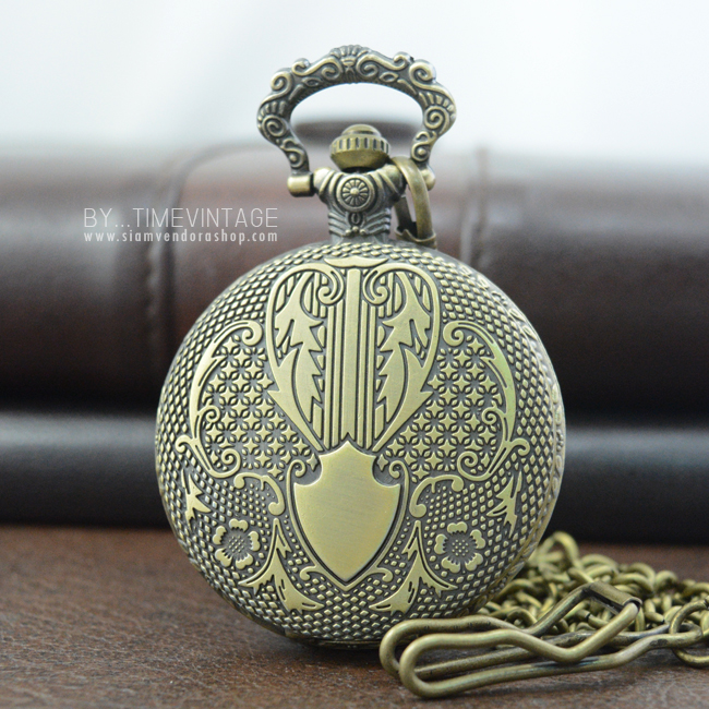 นาฬิกาพกล็อคเก็ตดีไซต์ยุโรปอาร์ตสีทองเหลืองวินเทจระบบถ่านควอทซ์