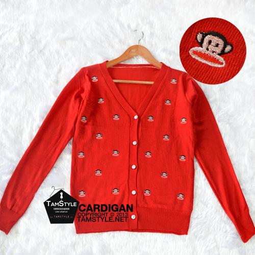 Coat-164 เสื้อคลุมแขนยาว ลายปักลิง สีแดง ผ้านิ่มใส่สบายทรงสวยจ้า อก ได้ถึง 36-38 นิ้ว ยาว 25 นิ้ว (เสื้อคลุมพร้อมส่ง)