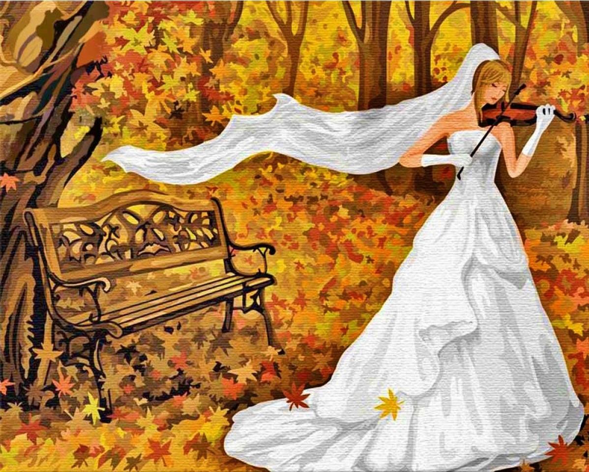 """TG139 ภาพระบายสีตามตัวเลข """"เจ้าสาวกับไวโอลินในป่าสีทอง"""""""