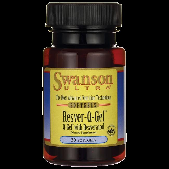 Swanson Ultra Resver-Q-Gel (Q-Gel® Coenzyme Q10 ( Hydrosoluble™ ) 50 mg. & Trans-Resveratrol...50 mg.) / 30 Sgels.