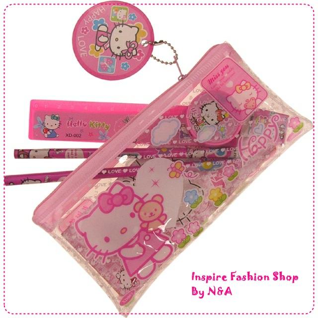 เซตเครื่องเขียน Hello Kitty สีชมพู 7 Set Hello Kitty Stationery Set / Hello Kitty pencil case / pencil case kitty