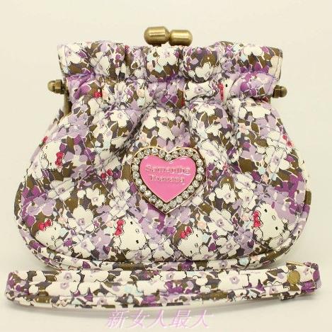 [Preorder] กระเป๋าใบเล็ก สกรีนลายแมวเหมียคิตตี้พร้อมดอกไม้เล็กๆ หวาน สีม่วง Hello Kitty purse coin bag admission package cute cartoon wallet can hand carry