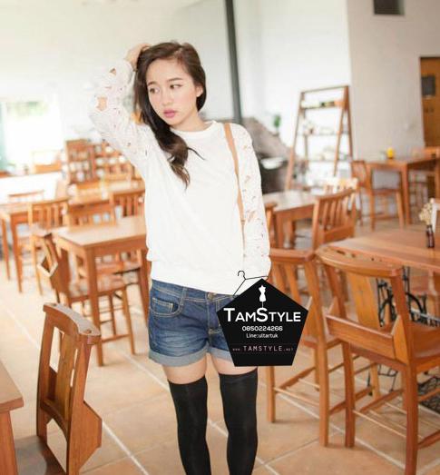 """Top -106 เสื้อผ้าแฟชั่น เสื้อผ้าเกาหลี เสื้อผ้ายืด แขนยาวตาข่ายลูกไม้บาง อก 38 """" (เสื้อแขนยาวพร้อมส่ง)"""