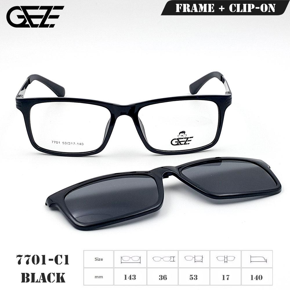 กรอบแว่นตากรองแสง ฟรี คลิปออนกันแดดสีดำ Polarized GEZE 1ClipOn รุ่น 7701 สีดำเงา ป้องกันแสงแดด รังสี UVA UVB UV400 ลดอาการแสบตา ได้อย่างดีเยี่ยม สำเนา