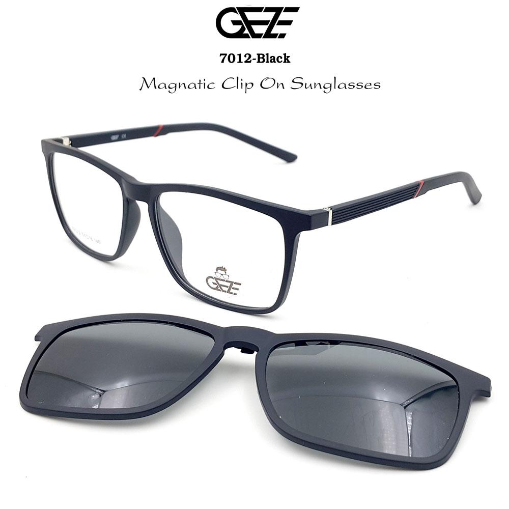 กรอบแว่นตากรองแสง ฟรี คลิปออนกันแดดสีดำ Polarized GEZE 1ClipOn รุ่น 7012 สีดำด้าน ป้องกันแสงแดด รังสี UVA UVB UV400 ลดอาการแสบตา ได้อย่างดีเยี่ยม