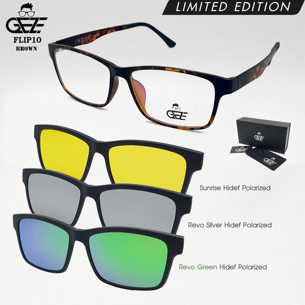 แว่นตากรองแสง GEZE รุ่น FLIP10-Leopard แถมฟรี คลิปออนแม่เหล็ก 3 Clip-On HD-Polarized