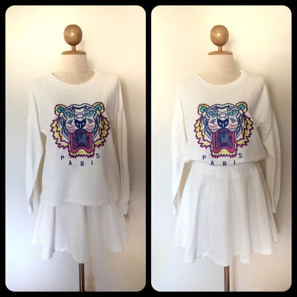 SET เสื้อปักลายเสือสไตล์Kenzo และกระโปรงสีขาวเข้าชุดกัน