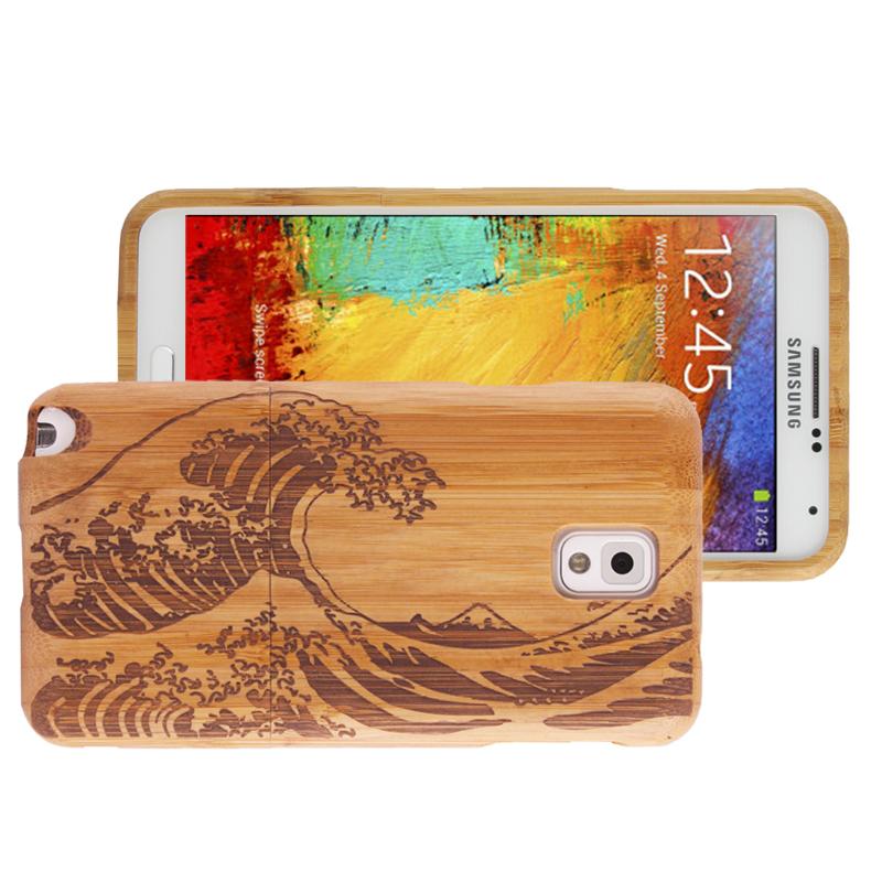 Woodcarving Wave Pattern Detachable Pinevood Material Case เคส Samsung Galaxy Note 3 (III) / N9000 ซัมซุง กาแล็คซี่ โน๊ต 3