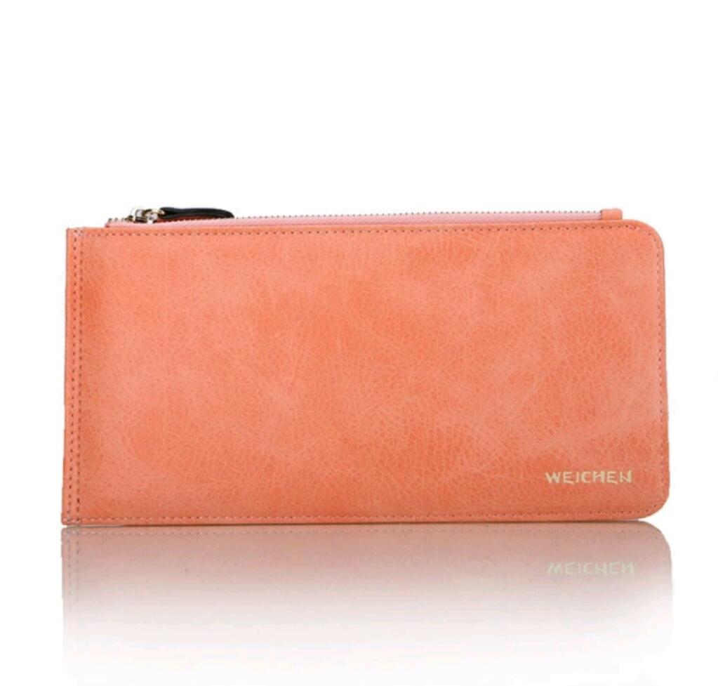 Lucky Wallet กระเป๋าโชคดีสีส้มอมชมพูรับทรัพย์คนเกิดวันอังคาร วันพฤหัสบดี ใส่บัตรได้เยอะมาก ช่องซิปใส่เหรียญในตัว ใบเดียวจบ