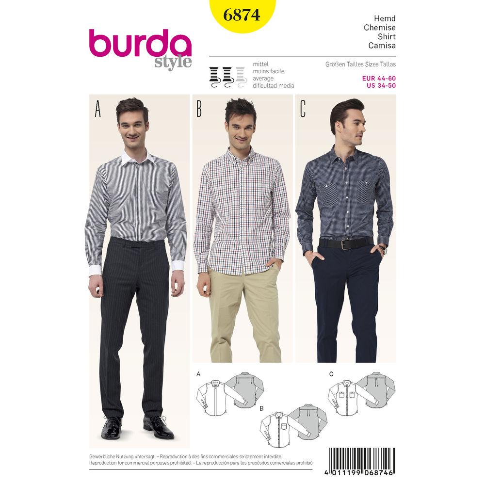 แพทเทิร์นตัดเสื้อเชิ้ต ชาย Burda (6874) ไซส์ US 34-50 อก 34.75 - 47.25 นิ้ว