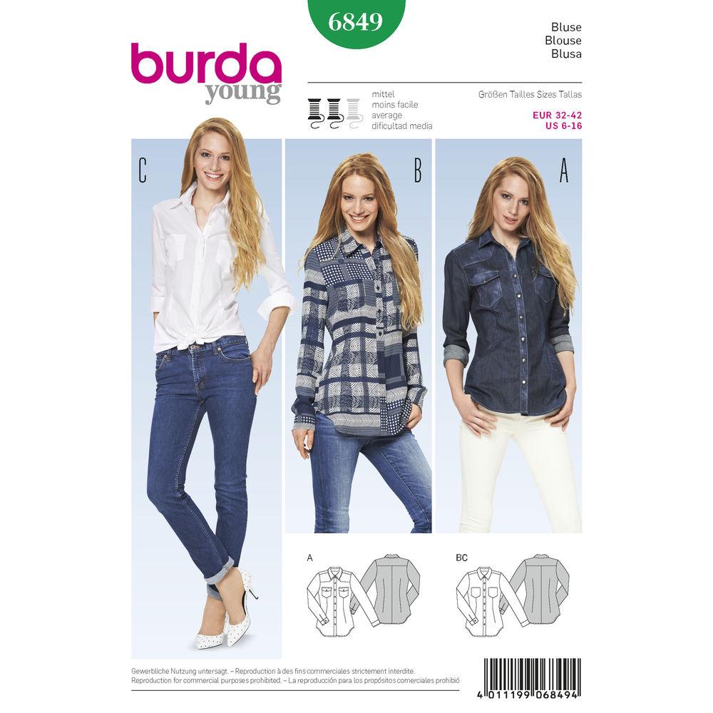 แพทเทิร์นตัดเสื้อเชิ้ตสตรี ยี่ห้อ Burda Style (ุ6849) ไซส์: 6-8-10-12-14-16