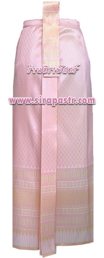 """ผ้าถุงป้าย-หน้านาง NPA-5 สีชมพู (เอวใส่ได้ถึง 29"""") *แบบสำเร็จรูป-รายละเอียดตามหน้าสินค้า"""