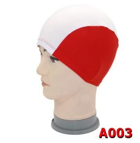 A003 หมวกว่ายน้ำ สีสันสดใส เนื้อผ้าโพลีเอสเตอร์อย่างดี สีแดง