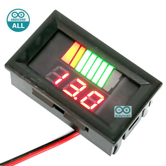 โมดูลวัดโวลต์ ระดับแบตเตอรี่ 12-60V สีแดง