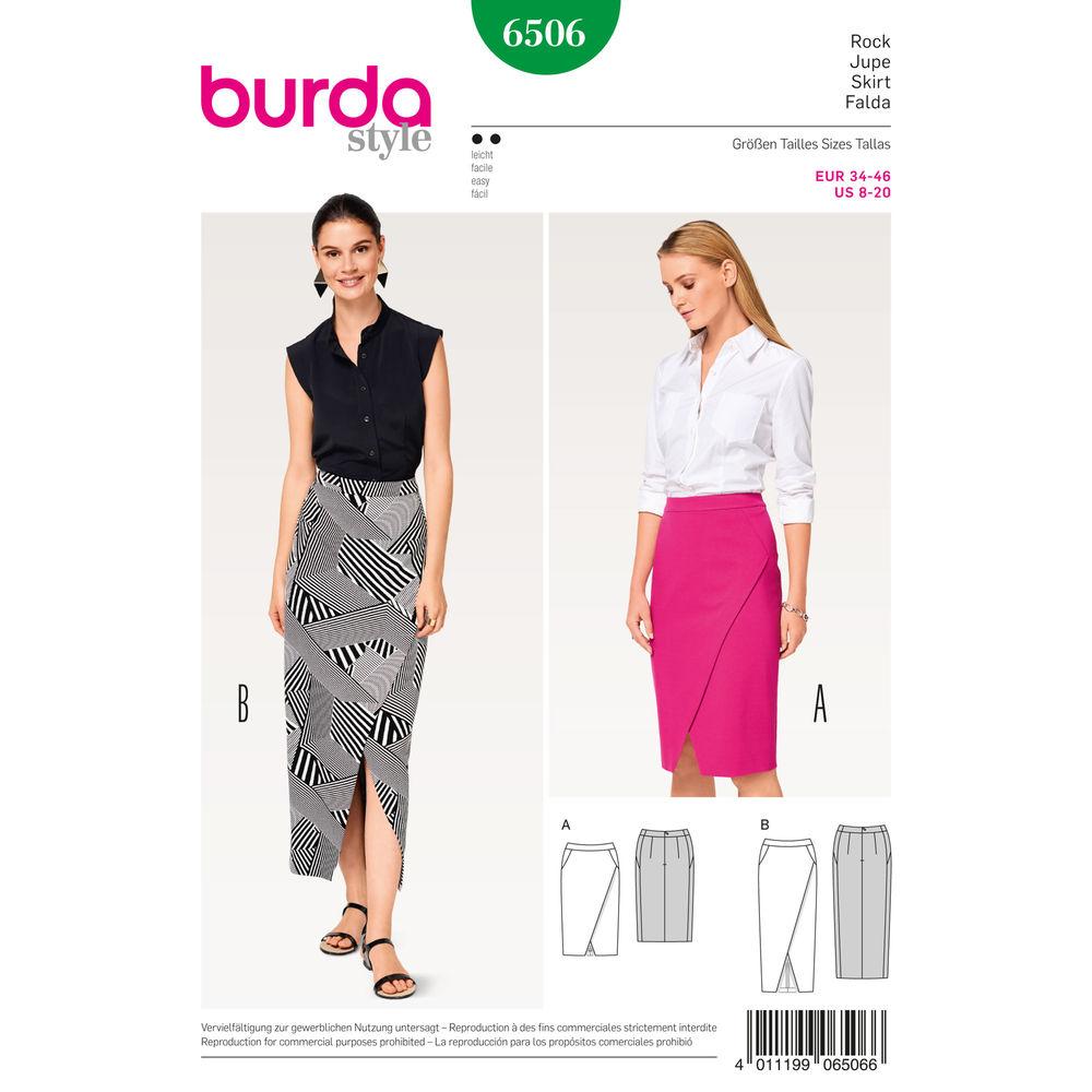 แพทเทิร์นตัดกระโปรง เก๋ๆ ยี่ห้อ Burda Style (6506) ไซส์: 8-10-12-14-16-18-20