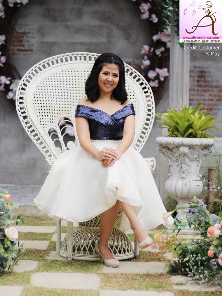 2018-052_2_รีวิวชุดราตรีสั้นปาดไหล่ทูโทน navyblue white สวยๆ น่ารักๆและดูแพง จากน้องเมย์ จรัลสนิทวงศ์ ที่ใช้บริการเช่าชุดของ allsweetdress ไปร่วมงานแต่งพี่สาวค่ะ