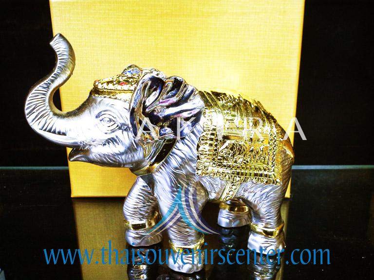 ของพรีเมี่ยม ของที่ระลึกไทย ช้าง แบบ 4 Size M สีเงินทอง