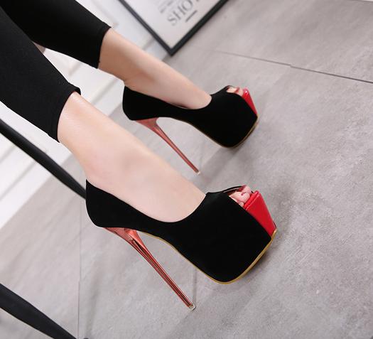 รองเท้าส้นสูงสีดำกำมะหยี่เปิดหน้าสีดำ ไซต์ 34-40
