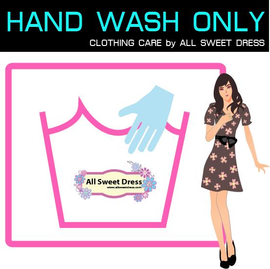 ภาพสัญลักษณ์การซักผ้าด้วยมือกับตัวการ์ตูนผู้หญิงน่ารักๆ design เป็นหน้าปกบทความการดูแลรักษาชุดราตรี