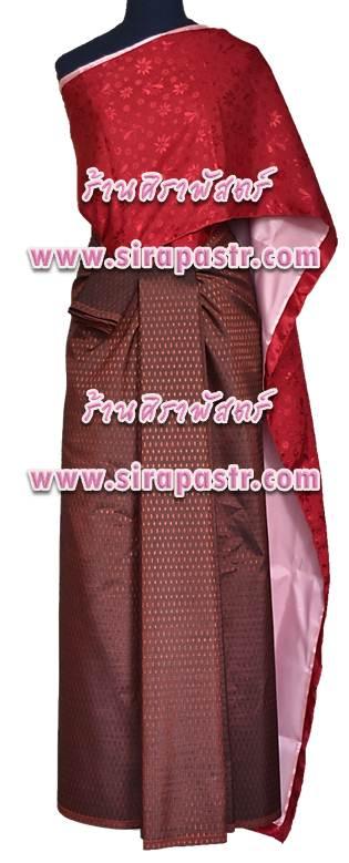 ชุดผ้าไทย-สไบผ้าลาย A-B3 (สไบฯ+ผ้าฯ 4 หลา*แบบจับสด) *รายละเอียดในหน้าสินค้า