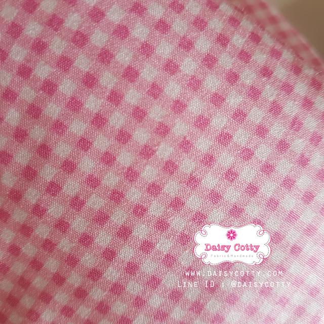 ผ้าคอตตอนไทย 100% 1/4 เมตร(50x55ซม.) ลายตารางเล็กสีชมพู