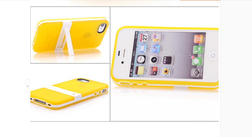 เคสไอโฟน 5/5s/SE (TPU Case) พร้อมขาตั้ง สีเหลือง