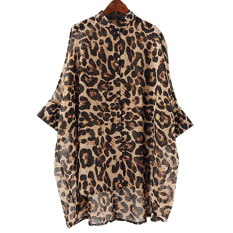 *Pre Order*แฟชั่นผู้หญิงไซส์ใหญ่ เสื้อเชิ้ตคอจีนชีทรูลายเสือ freesize
