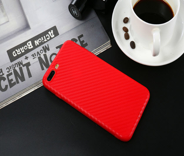 เคสไอโฟน 6Plus/6sPlus TPU CASE (เคสยางนิ่ม คลุมรอบเครื่อง) ลายเคฟล่า สีแดง