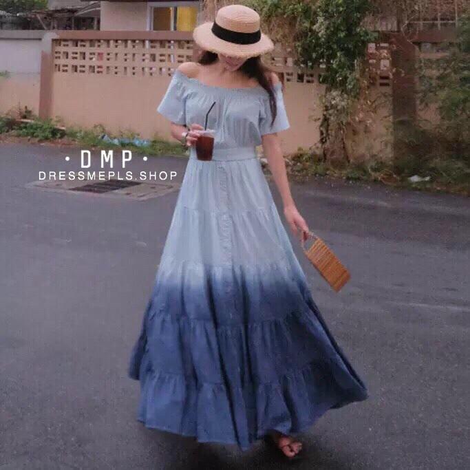 ชุดเดรสเกาหลี พร้อมส่ง Maxi Dress สม็อคไหล่