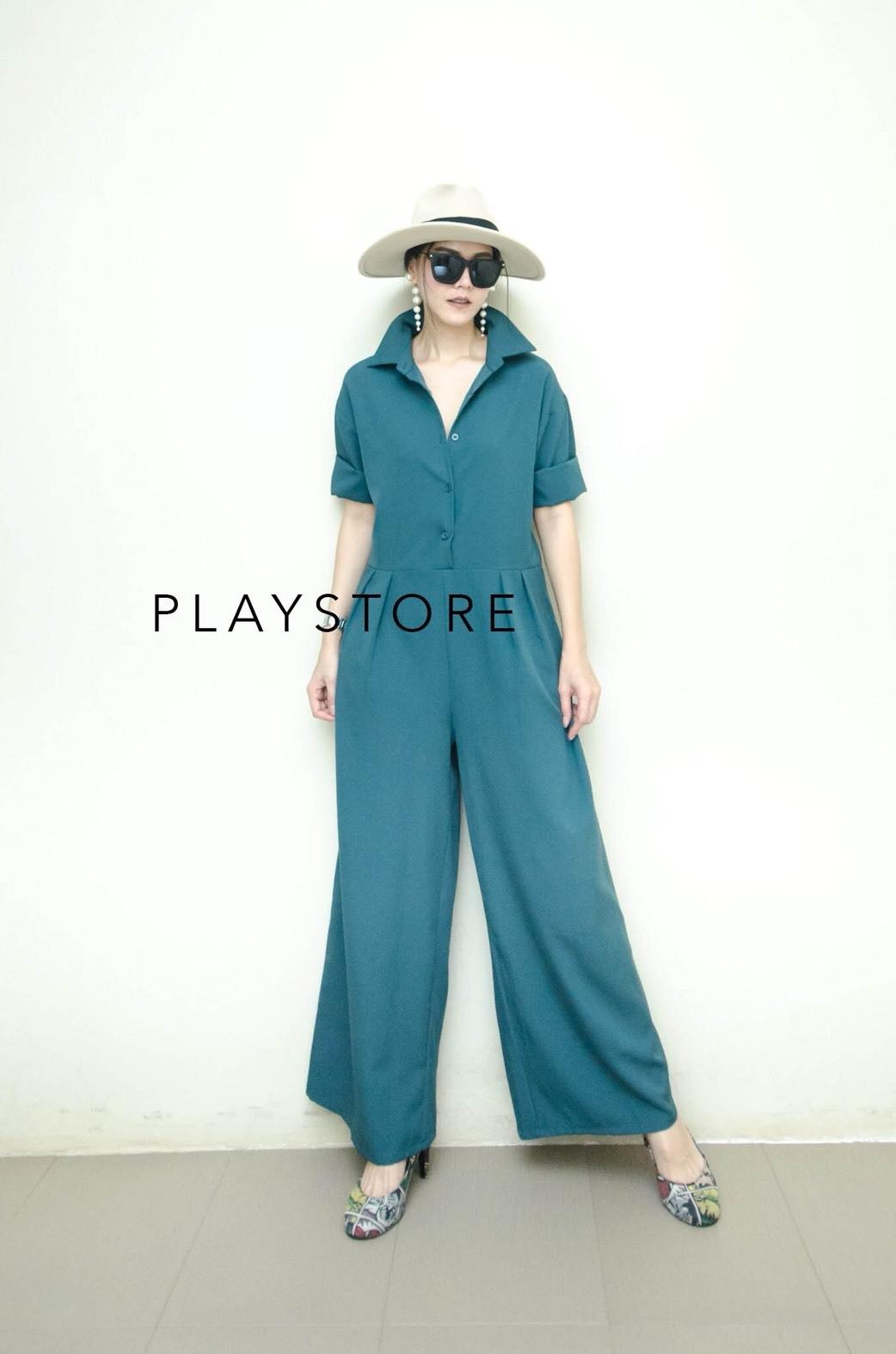 เสื้อผ้าเกาหลี พร้อมส่ง จัมพ์สูท กางเกงขายาวทรงหลวม