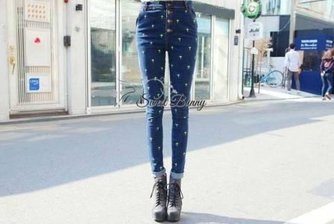 พร้อมส่ง กางเกงยีนส์เกาหลี ใช้ผ้ายีนส์แท้ฟอกสีน้ำเงิน