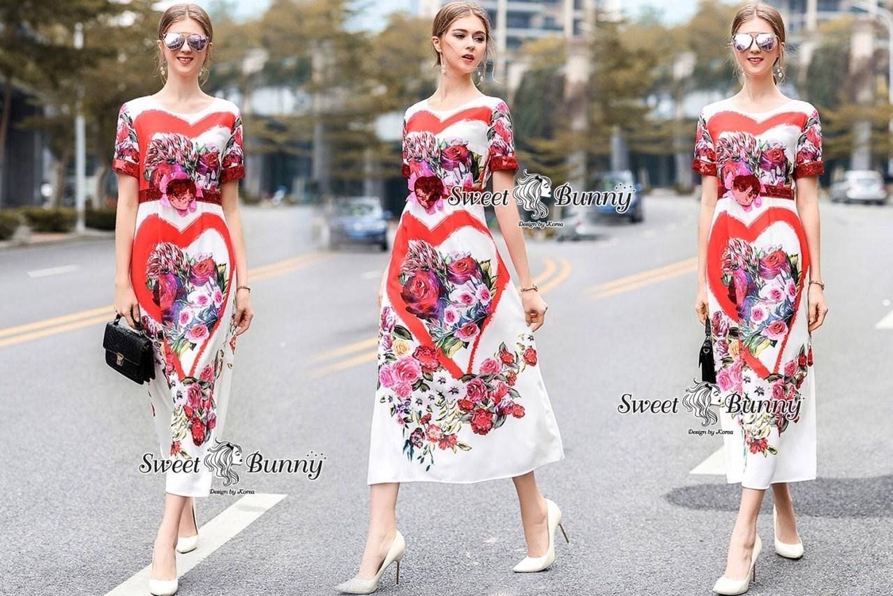 ชุดเดรสเกาหลี พร้อมส่ง Maxi Dress ปัก