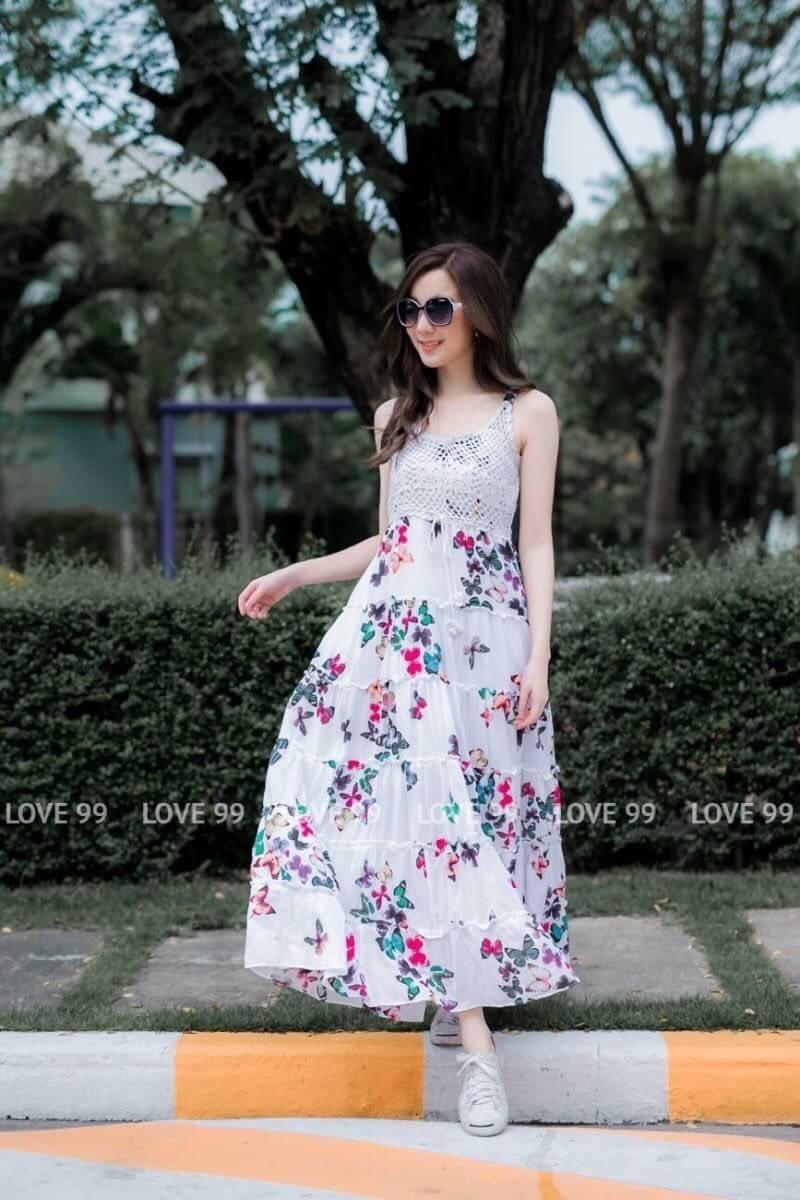 เดรสเกาหลี พร้อมส่ง Maxi dress ลายดอก