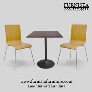 ชุดโต๊ะอาหารขาแชมเปญพร้อมเก้าอี้ดัดโค้ง สีธรรมชาติ 2 ที่นั่ง