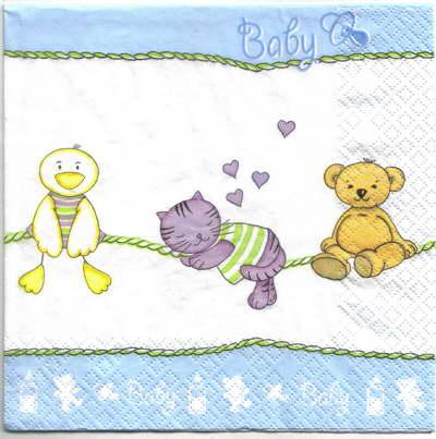 แนวภาพเด็กอ่อน ลายหมีแมวเป็ด เรียงเป็นแถว ภาพโทนสีฟ้า เป็นลายแนวยาว กระดาษแนพกิ้นสำหรับทำงาน เดคูพาจ Decoupage Paper Napkins ขนาด 33X33cm