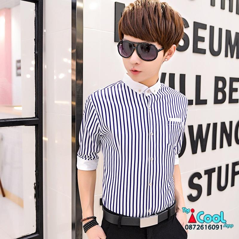 เสื้อเชิ๊ต ลายตรง แฟชั่นเกาหลี เสื้อผ้าทอม[Pre-Order]
