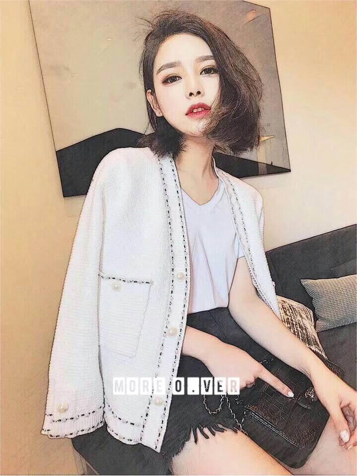 เสื้อผ้าเกาหลี พร้อมส่ง เสื้อคลุมคาดิแกน Chanel