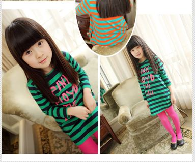 ชุดเดรสแฟชั่นเด็ก ลายริ้วสีเขียว-ดำ น่ารักสไตล์เกาหลี