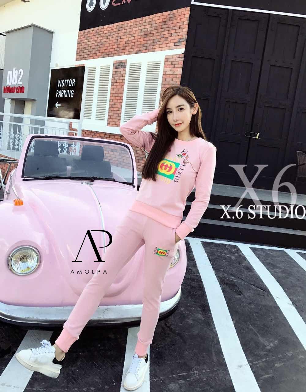 เสื้อผ้าเกาหลี พร้อมส่ง เสื้อ+กางเกง Gucci 2017