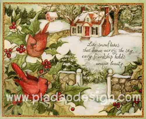 กระดาษอาร์ตพิมพ์ลาย สำหรับทำงาน เดคูพาจ Decoupage แนวภาำพ บ้านและสวน นกน้อยตัวอ้วน 2 ตัว เกาะกิ่งไม้อยู่หน้าบ้านที่มีหิมะปกคลุมในฤดูหนาว (ปลาดาวดีไซน์)