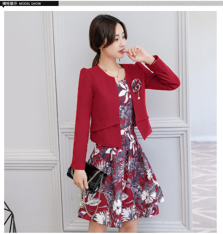 เสื้อผ้าเกาหลี พร้อมส่ง เสื้อสูทและเดรส สีแดงเข้ม